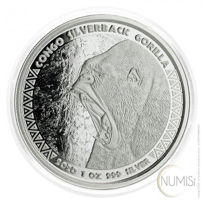 Congo: 5000 Francs 2020 - 1oz .999 Ag PL - SILVERBACK GORILLA (CG0993X002038) by www.numizmatika.si