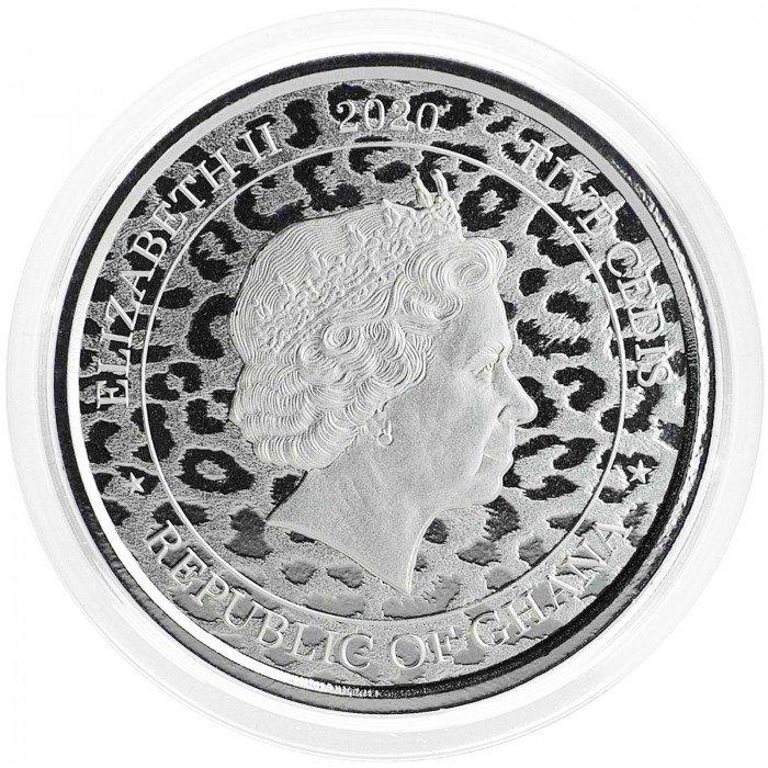 Ghana: ₵5 GHS 2020 - 1oz .999 Ag BU - African Leopard (GH0993X002240) by www.numizmatika.si