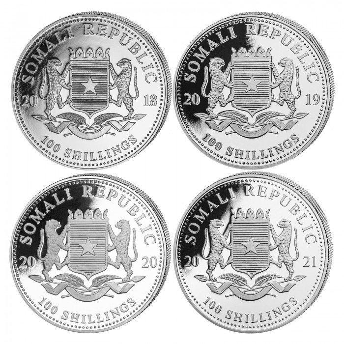 Somalia: 4X 100 Schillings 2018-2021 -  4X 1oz .9999 Ag BU - AFRICAN WILDLIFE - Leopard |SET (SO0992X002289) by www.numizmatika.si