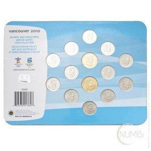 Canada:  VANCOUVER 2010 (2007-2010) SET (12x 0.25 CAD, 2x 1 CAD)Canada by www.numizmatika.si