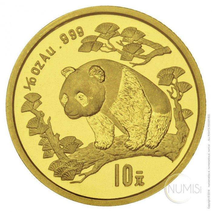 China - The People s Republic: 10 YUAN 1997 - 1/10 oz .999 Au BU - Panda (Large Date) (CN10161102804595606) by www.numizmatika.si