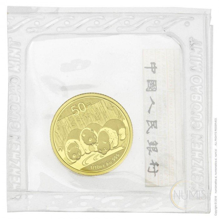 China - The People s Republic: 50 YUAN 2013 - 1/10 oz .999 Au BU - Panda (CN10001102802226972) by www.numizmatika.si