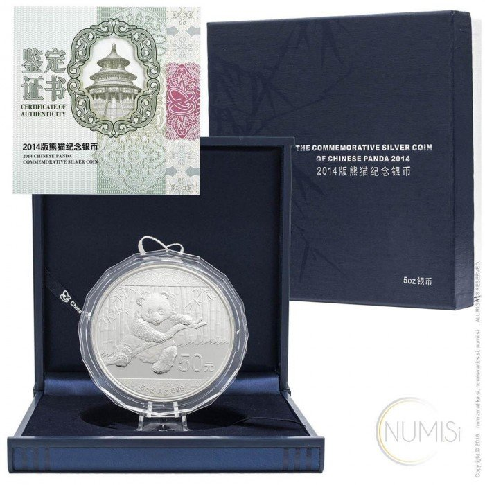China - The People s Republic: 50 Yuan 2014 - 5 oz .999 Ag PROOF - Panda (CH09992204002541894) by www.numizmatika.si
