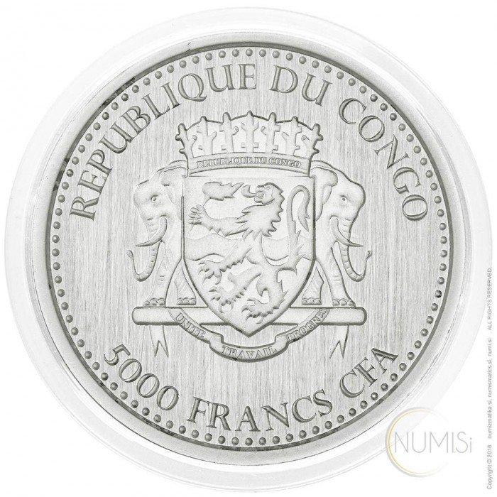 Congo: 5000 Francs 2015 - 1oz .999 Ag PL - SILVERBACK GORILLA (CG09982202805648967) by www.numizmatika.si