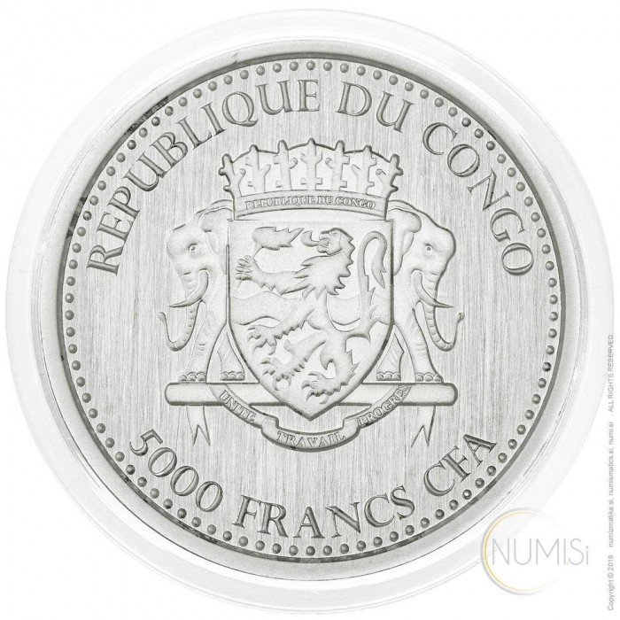 Congo: 5000 Francs 2017 - 1oz .999 Ag PL - SILVERBACK GORILLA (CG09962202001102742) by www.numizmatika.si