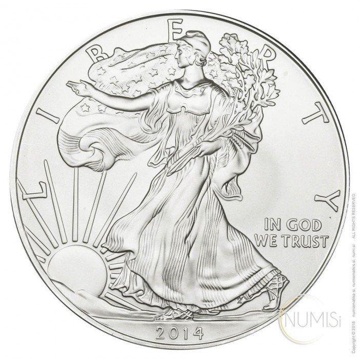 United States of America: 1 USD 2014 - 1oz .999 Ag BU - Eagle (US0999X001709) by www.numizmatika.si